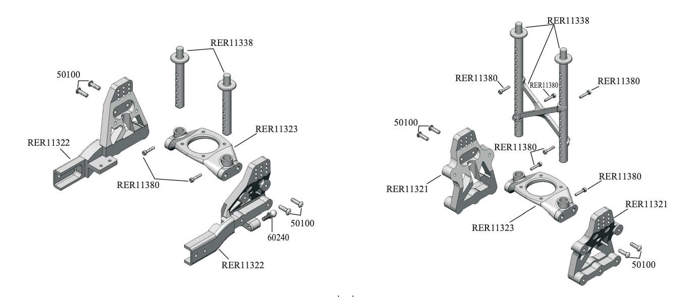 Redcat Gen 8 Shock Towers and Body Posts Parts Diagram
